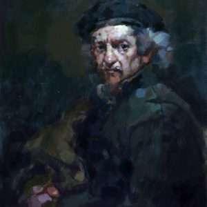 Autoportrait aux mains jointes d'après Rembrandt