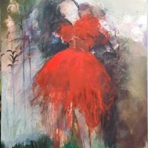 Robe rouge et graminée
